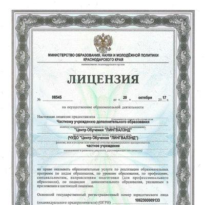 Лицензия ЧУДО ЦО
